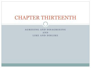 CHAPTER THIRTEENTH