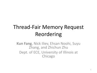 Thread-Fair Memory Request Reordering