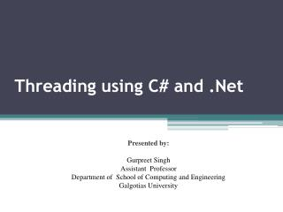 Threading using C# and .Net
