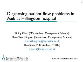 Diagnosing patient flow problems in A&E at Hillingdon  hospital