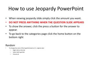 How to use Jeopardy PowerPoint
