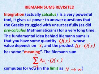 RIEMANN SUMS REVISITED