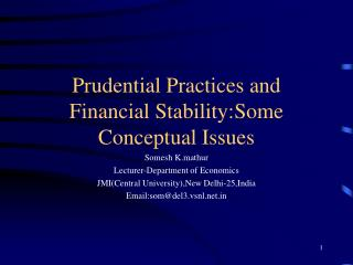 Prudential Practices and Financial Stability:Some Conceptual Issues