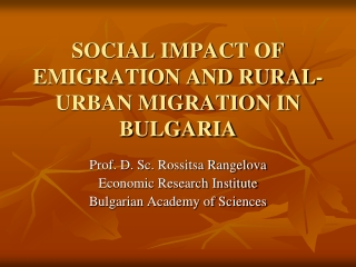 Poverty and Unemployment in Rural Areas in Bulgaria