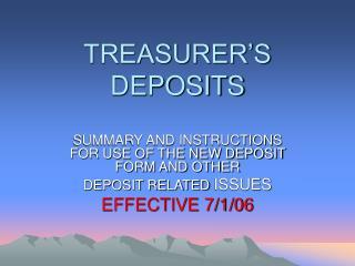 TREASURER'S DEPOSITS