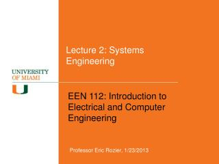 Lecture  2: Systems Engineering