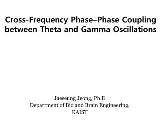 Cross-Frequency Phase–Phase Coupling between Theta and Gamma Oscillations