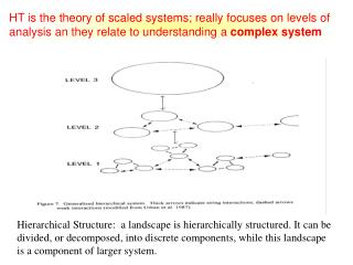 HT is the theory of scaled systems; really focuses on levels of analysis an they relate to understanding a complex syst