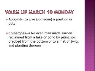Warm Up March 10 Monday