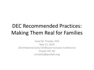 DEC Recommended Practices: Making Them Real for Families