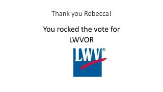 Thank you Rebecca!