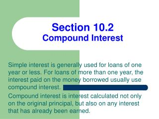 Section 10.2 Compound Interest