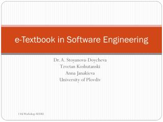 e -Textbook in Software Engineering