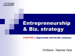 Entrepreneurship & Biz. strategy