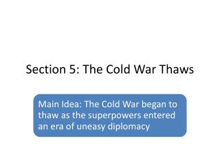 Section 5: The Cold War Thaws