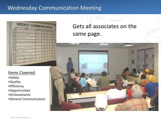 Wednesday Communication Meeting