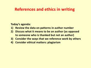 References and ethics in writing