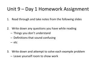 Unit  9  – Day  1  Homework Assignment