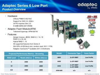 Adaptec Series 6 Low Port Product Overview