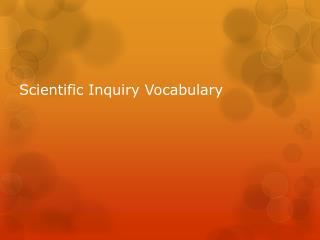 Scientific Inquiry Vocabulary