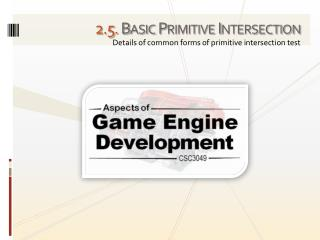 2.5. Basic Primitive Intersection