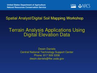 Spatial Analyst/Digital Soil Mapping Workshop