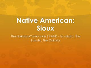 Native American: Sioux