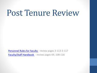 Post Tenure Review