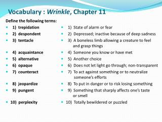 Vocabulary :  Wrinkle ,  Chapter 11
