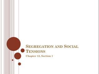 Segregation and Social Tensions