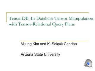 TensorDB : In-Database Tensor Manipulation with Tensor-Relational Query Plans