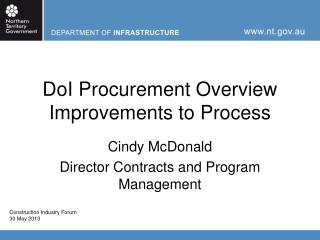 DoI Procurement Overview Improvements to Process