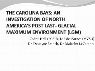 THE CAROLINA BAYS: AN  INVESTIGATION OF NORTH AMERICA'S POST LAST- GLACIAL MAXIMUM ENVIRONMENT (LGM)