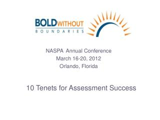 NASPA  Annual Conference  March 16-20, 2012  Orlando, Florida
