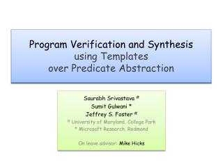 Program Verification and Synthesis using Templates over Predicate Abstraction