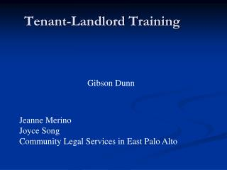 Tenant-Landlord Training