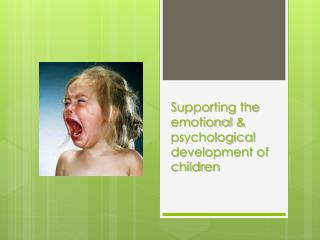 Supporting the emotional &  p sychological development of children