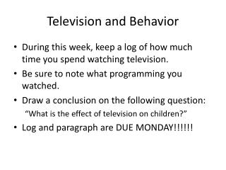 Television and Behavior