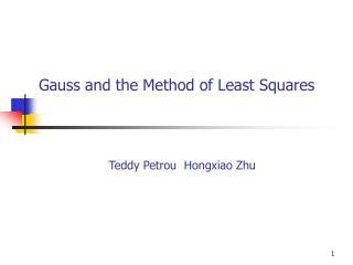 Gauss and the Method of Least Squares