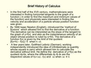 Brief History of Calculus