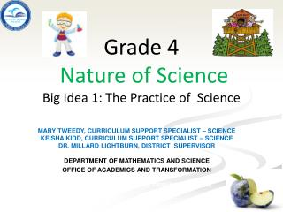 Grade  4 Nature of Science  Big Idea 1: The Practice of  Science