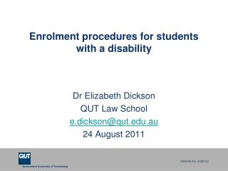 Enrolment procedures for students with a disability