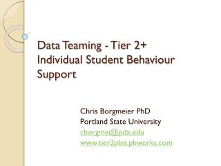 Data Teaming - Tier 2+  Individual Student Behaviour Support