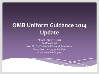 OMB Uniform Guidance  2014 Update