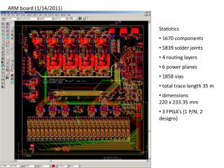 Statistics  1670 components  5839 solder joints  4 routing layers  6 power planes  1858  vias