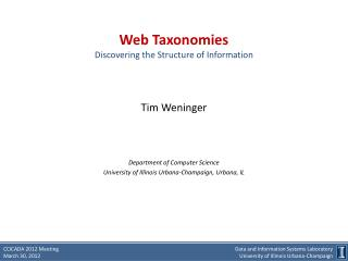 Web Taxonomies Discovering the Structure of Information