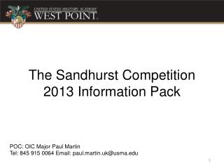 The  Sandhurst  Competition 2013 Information Pack