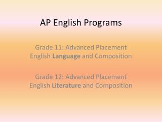 AP English Programs