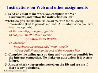 Instructions on Web and other assignments