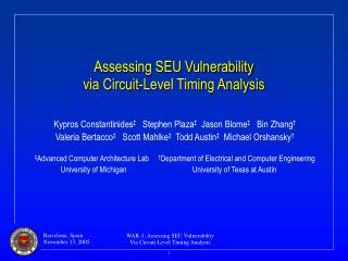 Assessing SEU Vulnerability via Circuit-Level Timing Analysis